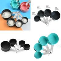 Paslanmaz Çelik Kolu Ölçüm Bardak Seti Pişirme Araçları Katı Renk Dairesel Uygun Sayma Kupası Mutfak Malzemeleri FWF5971