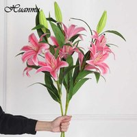 Decorative Flowers & Wreaths 10 Heads Artificial Lily High-Quality Multicolor Wedding Bridal Bouquet Home Party Decoration