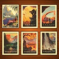 그림 빈티지 미국 여행 포스터 요세미티 록키 산맥 크래프트 포스터 클래식 캔버스 벽 스티커 홈 장식 선물