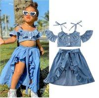 Toddler Baby Kid Girl Summer Clothes Sets Polka Dots Off Shoulder Tops + Ruffles Skirts+Shorts Outfits Kids Clothing