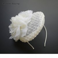 Vintage Ivory Lace Bridal Hats 2020 with Crystal Floral Navy Blue Bridal Headwear Wedding Accessories Formal Party headpieces