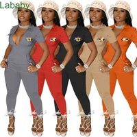Women jumpsuits deisgner slim sexy Solid Color 4 Pockets Short Sleeve Tee Pants Deep V Neck Zipper Blouse Tight Trousers One Piece Rompers