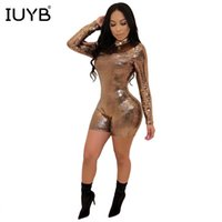 Jumpseau pour femmes Rompers IUYB PRINTEMPS 2021 SPÉCIALE Sexy Femmes Skinny Skinny Full Longueur Mini Dame O-Cou Shining Age Resducation Rompe ML716