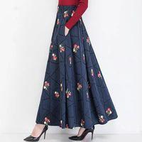 Skirts Fairyshely 2021 Autumn Winter High Waist Maix Pleated Skirt Retro Floral Embroidered Cotton Linen Plus Size Long 3XL
