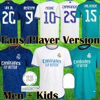 21 22 플레이어 버전 레알 마드리드 MBappe 축구 유니폼 벤츠마 Alaba Valverde Kits Rodrgo Camiseta 2021 2022 Vini Jersey 축구 셔츠 키즈 장비