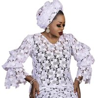 Ethnic Clothing African Dashiki Fashion Loose Embroidery White Long Maxi Dress For Women Africa Clothes Elegant Lace Dresses Muslim Abaya