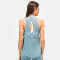 Yoga Kıyafetler kadın Hafif Spor Tank Üstü Açık Geri Mesh Patchwork Yoga Tops Kolsuz Spor Gömlek Yaz Hızlı Kuru Egzersiz Giysileri