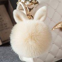 열쇠 고리 2021 체인 가짜 토끼 모피 볼 키 체인 Pompom 푹신한 가방 매력 토끼 열쇠 고리 열쇠 고리 여성들