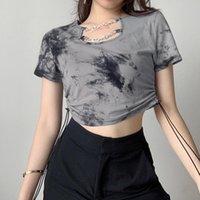 Women's T-Shirt Gray Tie-dye Drawstring Women 2021 Summer Lady Chains Short-sleeve Casual Tshirt Short-length Slim Goth Basic Top Street