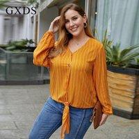Plus size blusa viscose botão listrado casual manga comprida v-pescoço slim slim escritório escritório elegante camisa outono blusas camisas femininas