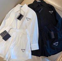Designer marke frauen trainingsanzüge sommer stil umgekehrt dreieck kragen sieben-viertel hülsenhemd mit losen shorts casual panzer frauen 100% seide zweiteilig