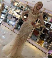 Champagne Beading Muslim Prom Dresses 2022 Shiny Crystal Long Sleeve Arabic Dubai Hijab Mermaid Evening Gowns Vestido De La