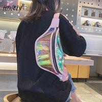 حقائب الكتف هاثافة الأزياء الخصر حقيبة الليزر شفاف الشفاف تشغيل الحقيبة مفتاح الهاتف حامل الرياضة السفر للنساء
