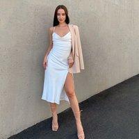 Women Sexy High Split Sling Dress Pile Collar Backless Spaghetti Strap Dress 2021 Female White Leopard Elegant Party Dresses s