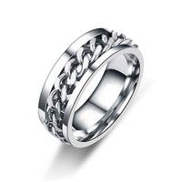Bijoux à la main en gros bague d'anxiété pour hommes 8mm Spinner Bague 316L Steel Steel Fidget anneau