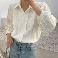 Elegante Escritório Senhoras Plissadas Camisas Colares Collar Colares Mulheres Lace Blusa 2021 Primavera Blusas Tops Drop Women's Bluses