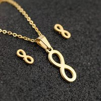 Earrings & Necklace Fashion Stainless Steel Infinity Love Pendant For Women Gold Color Lucky 8 Shaped Chains Choker Lady Party Jewelry Set