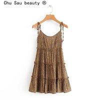 Vestidos casuales Chu Sau Beauty Sexylub Fashion Leopard Print Sling Mini Vestido Mujeres Holiday Chic Ruffles Elastic Back Verano Mujer