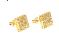 European and American Hip Hop Gold Plated Gold Plated square micro plated zircon Stud Earrings