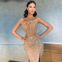 2022 Sexy Arabic Dubai Champagne Evening Dresses Strapless Front Split Beads Plus Size Party Prom Gowns Vestidos De Novia