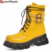 Moonmeek 2020 más Tamaño 34 43 Botas de tobillo de invierno de alta calidad Playa de tacones cuadrados Zapatos de damas Patente de cuero botas Botas de montar Botas Zapatos baratos F P4HW #