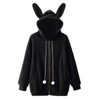 Women's Hoodies & Sweatshirts Women Fuzzy Ears Fleece Faux Fur Jackt Coats Harajuku Casual Long Sleeve Hooded Tops Winter Female