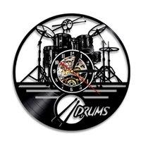 Wall Clocks Guitar Drums Set Illuminated LED Backlight Clock Music Record Modern Design Band Member Fan Handmade Gift