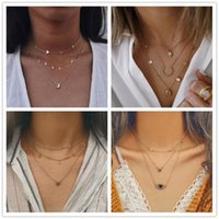 Fashion Vintage Multilayer Crystal Pendant Necklace Women Gold Color Beads Moon Star Crescent Choker Necklaces Female Jewelry Chains