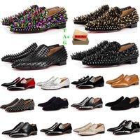 브랜드 망 붉은 하단 구두 특허 스웨이드 스타일리스트 스파이크 정품 가죽 드레스 신발 디자이너 낮은 평면 리벳 Luxurys 남자 비즈니스 연회 신발