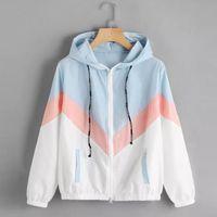 Women's Jackets Women Windbreaker Jacket Female Multicolor Patchwork Hooded Basic Color Block Coats For