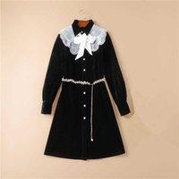 Women Dress High Quality Runway Turn Down Collar Long Sleeves Beading Belt Velvet Casual Shirt Dresses Vestidos NP1791N G1011