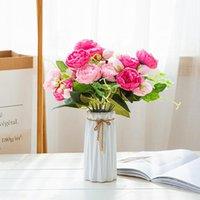 Декоративные Цветы Венки Свадебные Украшения для Столового Главная Флорес Арт-Флорес Artificiais Rosas Bloom Высококачественный Букет Поддельный шелковый Цветочный декор PI