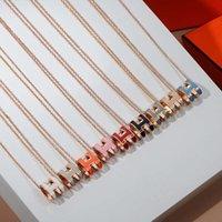 Corrente de clavícula de alta versão H enamel letra pop colar feminino oval rosa ouro pingente jóias