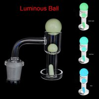 20mmOD Flat Top Terp Slurper Smoking Quartz Banger With Luminous Pill Glass Marble Ruby Pearls 90 Nails For Water Dab Rig Bongs
