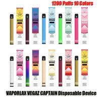 Аутентичные Vaporlax Vegaz Captain Одноразовый POD Устройство набор устройств 1200 Средства 700 мАч Батарея 4ML Предварительный картридж Vape Peen подлинной VS MATE BAR PLUS