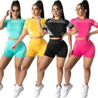 Women Tracksuits 2 piece set summer clothes cycling running yoga wear t-shirt shorts sweatsuits pullover leggings outfits crop top vest tee tops bodysuit gym 01609