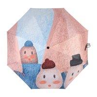 Umbrellas Umbrella Fashion Black Coating Illustration Dual Purpose All In 1 Folding Sunscreen Strengthening UPF 50+ Sunshade