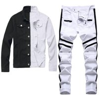 Black and White Two-color Tracksuits Slim-fit Men's 2pcs Sets Spring Autumn Long Sleeve Denim Jacket + Stretch Ripped Holes Zipper Jeans