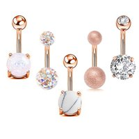 5pcs Sexy 316L Acciaio chirurgico Bar Beny Bottone Anelli Donne Donne Crystal Ball Girls Navel Piercing Barbell Orecchino Stone Body Jewelry Set 489 T2