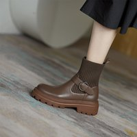 Boots 2021 spring and autumn thick soled short boots leather womens socks fashion Martin middle heel elastic thin Brown