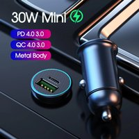 Car Charger With luminous PD3.0 30W Mini Full Metal Dual QC 3.0 QC4.0 USB Type C Quick Charging For mobile phone
