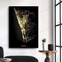 Mapa de la ciudad de la ciudad de la ciudad de la ciudad Mapa de calor de la carretera de la carretera Mapa de la lona Decorativo Pintura Póster Corredor Estudio Arte Decoración