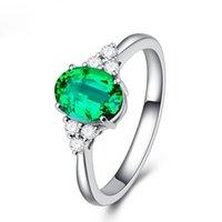 Anelli a cluster Bellissimo Smeraldo per le donne Argento classico 925 gioielli gioielli anello di fidanzamento anello gemma gemma regalo 2021