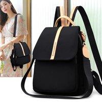 Backpack estilo feminino preto macio de pano de oxford flap grande capacidade de viagem casual traje portátil mochila feminino desenhador de ombro sacos saco