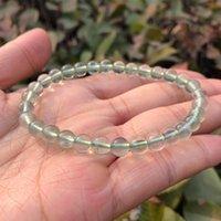 Naturlig grön och regnbåge Fluorit Armband Högkvalitativa Transparent Runda Pärlor Crystal Quartz Healing Stone Kvinnor Smycken Gåva Beaded, Stran
