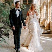 Bohemian Off the Shoulder Mermaid Wedding Dresses Illusion Bridal Gown Lace Appliques Vestidos De Novia Tulle Strap