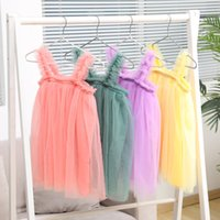Ins Baby Girl Tutu Dress Kids Sling Gauze Skirt Summer Party Elegant Solid Color Agaric Lace