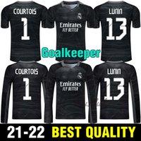 2021 Real Madrid Kaleci Kitleri Futbol Formaları 21 22 Siyah # 1 Courtois GK Futbol Gömlek # 13 Lunin Üniformaları