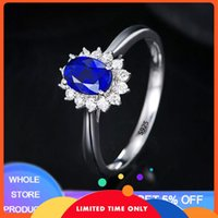 YANHUI Fashion 2.0ct Lab Sapphire Rings Women Wedding Engagement Jewelry Silver 925 Ring With Free Gift Box