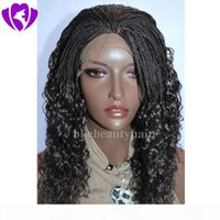 New box Braided Wigs with Baby Hair long dark brown Braiding hair Heat Resistant Glueless Synthetic Lace Front Wigs for Black Women